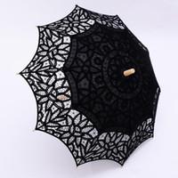 eski dantel şemsiyeleri toptan satış-Siyah Dantel Şemsiye Şemsiye Gotik Fantezi Hollow Vintage Victoria Düğün Şemsiye Gelin Nedime Kaliteli Özel Renk için