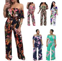Wholesale wide leg jumpsuits online - Off Shoulder Floral Print Playsuit Long Rompers Wide Leg Jumpsuits Sexy Summer Rompers Overalls Women Rompers Styles OOA4883