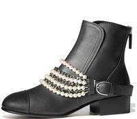 cadenas de perlas originales al por mayor-Mujeres invierno Botas cortas de cuero genuino Clásico de lujo Cadena de perlas Cremallera Tweed terciopelo original marca de moda Sexy Simple Classic botas