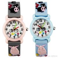 Wholesale pig tags resale online - Kid Watch D Cartoon pig mm waterproof Lovely Kids Girls Boys Children Students Quartz Wrist Watch Very Popular Wristwatc Sports Clock