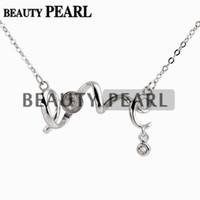 halskette basis rohlinge großhandel-Masse von 3 Stück Halskette leer für Perlen Montage Liebe 925 Sterling Silber Gliederkette Basis
