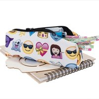 Wholesale hot new office supplies resale online - New Creative Cosmetic Brush Storage Bags Emoji Pencil Bag D Printing Writing Case Student School Supplies Simple Practical Hot Sale gr a