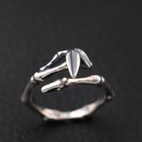 anillos abiertos antiguos de plata al por mayor-S925 plata esterlina plata tailandesa antigüedad hacen que la mujer adorna el artículo Anillo de apertura de bambú Venta caliente anillos de joyería al por mayor