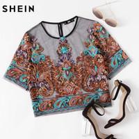 düğme bluzları kısa kollu toptan satış-SHEIN Kadınlar Bluzlar Nakış Womens Tops Renkli Kısa Kollu Düğmeli Keyhole Botanik Işlemeli Örgü Üst