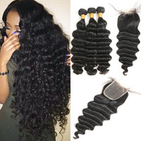 Wholesale Loose Deep Wave Bundles With Closure Malaysian Human Hair Bundles and Closure With Baby Hair pc Non remy Hair