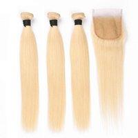 renkli atkı tüyü toptan satış-Brezilyalı Remy Saç Örgüleri Düz # 613 İnsan Saç Paketler ile 4X4 Kapatma saf sarışın Renkli Saç Atkı Uzantıları