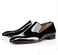 zapatos del ocio del caballero al por mayor-Gentleman Party Bussiness Dress Slip On Mocasines Zapatos Dandelion Sneaker Red Bottom Oxford Luxury Hombre's Leisure Fashion Flat
