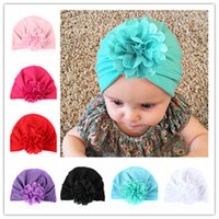 Wholesale Baby Hats Bohemiah Flower Caps Girls Knot India Turban Kids Fashion Head Wraps Toddler Winter Beanie Xmas Headwear Photography Props B11
