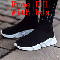 Wholesale green toe socks - DHL Free Original quality+With box zoom slip-on Speed Trainer stretch Mercurial XI Black High help Socks shoes Casual shoes men and women