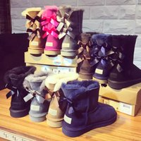 Wholesale cute snow shoes resale online - 2018 Winter Kids Snow Boots Genuine Leather Boots for Children Cute Bow Kids Girls Warm Shoes