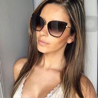ingrosso oculos cat eye retro-2018 Womens Fashion Cat Eye Occhiali da sole Donne Brand Designer Retro Occhiali da sole Occhiali da donna Vintage oculos de sol feminino D