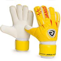 guantes amarillos de futbol al por mayor-Janus JA939 Hombres Guantes de Portero de Fútbol Profesional Desmontable Protección de Dedos Guante de Fútbol Guardián Amarillo Rojo Adulto