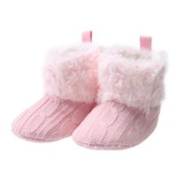 Wholesale White Bootie - Baby Shoes Children's Footwear Girl Newborn Knitted Bootie Snow Winter Warm Infant Soft First Walker 6 to 18 month