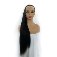 pelucas virgin half hair al por mayor-Moda Ondulado 3/4 Cabello humano Medias pelucas Sin procesar Virgen Brasileño Cabello humano Ninguna Pelucas de encaje para mujeres