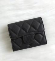 ingrosso pieghevole-2018 Fashion Design Breve portafoglio in vera pelle di agnello due pieghe portafogli portamonete portamonete con scatola buon prezzo