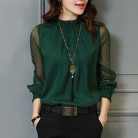 401a71dac94f5 3XL Female Spring Summer Lace Chiffon Shirt Plus Size Blouse Fashion Stand  Neck Shirts Transparent Long Sleeve Blouses Top Green S915