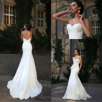 Wholesale Wedding Dress Fitted Train Sweetheart - Stunning Sweetheart Mermaid Lace White Wedding Dress 2018 Fitted Country Bridal Gown Train Church Bride Dress New Arrival Custom Made