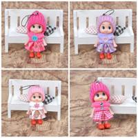 Wholesale super cute girl baby - Lovely Mini Baby Doll Key Buckle Super Soft PVC Material Popular Key Ring Cute 8cm Multicolor Keychain For Women Girl 0 6yg Z