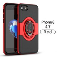 Wholesale Magnet Plastic Cover - iPaky Case For iPhone 7 8 7 Plus 8 Plus Back Cover PC+TPU 2 In 1 Pretective Cases With Ring Stand Holder Magnet