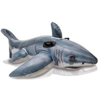 Wholesale shark swim toy for sale - Group buy Great White Shark Children Inflatable Mounts Floated And Inflated By Water Swimming Toys On Water High Negative Hand Handle js dd