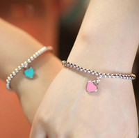 Wholesale 925 sterling silver buddha - 925 Silver Blue Pink Enamel Heart-shaped Round Buddha Beaded Bracelet For Women's Lady Ornament