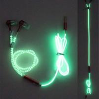 ingrosso cuffie per cuffie a cerniera-Cuffie auricolari cablati Luminous Glow Light Metal Zipper Auricolare Glow In The Dark Cuffie con microfono per iPhone Samsung LG