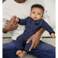 гетры синего малыша оптовых-Новорожденный малыш младенческой Baby Boy одежда темно-синий карманные топы футболка брюки леггинсы 2 шт. повседневная одежда наряды набор