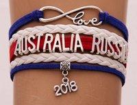 ingrosso bandiera nazionale australia-Infinity Love braccialetto Australia Costa Rica Russia 2018 coppa del mondo gioielli in pelle bandiera nazionale donne uomini braccialetti regalo per tifosi di calcio