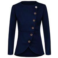 Wholesale Thin Blazers - Wholesale-2017 autumn women's round neck long sleeve suit Slim thin coat blazer feminino women blazers and jackets blazer women A732