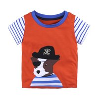 turuncu tişört bebek toptan satış-Turuncu t-shirt bebek boys için pamuk yaz elbise çocuk masalları kısa kollu erkek giyim çocuk giyim T Shirt karikatür elbise T-Shirt