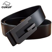 фирменные марки ремней оптовых-CUKUP  Designer Name Men's  Top Quality 100% Cowhide Belt for Men Male Slide Buckle Genuine Leather Belts 2018 NCK650