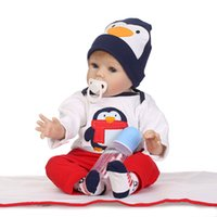 Wholesale Penguin Suits - NPK Full Glue Imitation Baby Doll Cute Penguin Suit Toy Gift High Grade Silicone Making Doll Toy