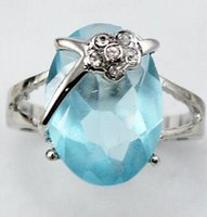 Wholesale black flower crystal ring for sale - Group buy sky blue Zirconia flower silver plated flower crystal ring