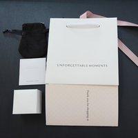 conjuntos de jóias de veludo venda por atacado-Caixa de Jóias Original conjunto de Prata Polimento pano Saco de Veludo Papéis para Pandora Encantos Brinco Anéis caixas de Presente