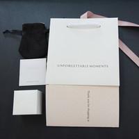 samt schmuckschatulle sets großhandel-Original Schmuckschatulle Set Silber Poliertuch Velvet Tasche Papiere für Pandora Charms Ohrring Ringe Geschenkboxen