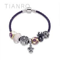 charme violeta venda por atacado-TIANRO Retro Violet couro corda trançada Handmade DIY frisado charme pulseiras para mulheres Little girl charme com jóias da coroa