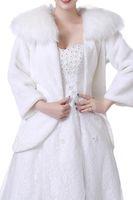 Wholesale warm jacket long cheap online - Ivory Red Cheap Bridal Wraps Warm Faux Fur Wedding Cloak Jacket Bolero Cape Winter Women Coat Shrug Shawl robe de mariée CPA1494