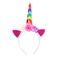 Wholesale plastic headband wholesale - Girls Hairband Baby Unicorn Party Hair Accessories Children Birthday Flower Kids Hairbands Cosplay Crown Baby Cute Lovely Headband Cat Ears