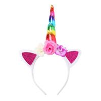 bebek kızı doğum günü şapkaları toptan satış-Kızlar Hairband Bebek Unicorn Parti Saç Aksesuarları Çocuk Doğum Günü Çiçek Çocuk Hairbands Cosplay Taç Bebek Sevimli Güzel Kafa K ...