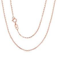 collar de cadena de oro puro de 18k. al por mayor-Collar de oro sólido de 18K Rose RINYIN AU750 puro cadena linda 1mm Rolo Ancho 16