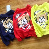 kids clothes hoodies 2018 - Chao Autumn High Quality New Pattern Boy Long Sleeve Round Collar Casual Hoodies bear printing tide kids clothes Pure Cotton