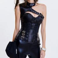brocado negro al por mayor-Black Brocade Leather Armor Steel Deshuesado corsé gótico Steampunk Clothing Corsés y Bustiers Burlesque Korsett para mujeres sexy