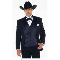 esmoquin de boda occidental al por mayor-(Jakcet + Pants + Chaleco azul marino) Solapa de muesca Western Cowboy Style traje de hombre negro Novio Wear Tuxedos Best Man Wedding Suits Para hombres