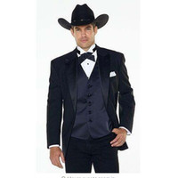 мужские костюмы западного стиля оптовых-(Jakcet+Pants+navy blue Vest) Notch Lapel Western Cowboy Style mens suit black Groom Wear Tuxedos Best Man Wedding Suits For men