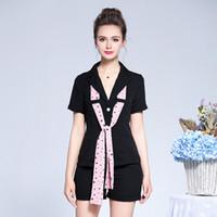 Wholesale big bow mini dress - Big size women's 2018 summer Dress Set new fattening leisure suit jacket + pants A set