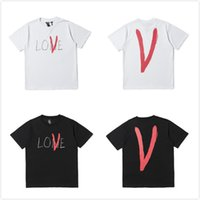 Wholesale hand painted love - fashion VLONE Life Lone Love T-Shirt Hand Painted Tee Men Women Loose Casual T-shirt Streetwear Hip-hop Crew Neck Summer Tee