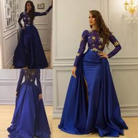 Wholesale sexy black dresses stars online - Sheer Long Sleeves Overskirt Evening Dresses Royal Blue Beadings Satin Formal Prom Dresses Long Sparkly Crystals Stars Pageant Party Gowns