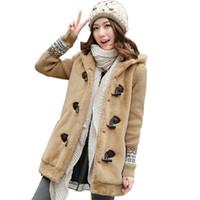 manteaux d'école d'hiver pour filles achat en gros de-Kukucos Hiver Filles Coréenne Mignon Épais En Peluche Manteau de Bande Dessinée Oreille Junior Lycéens Chandail Coton Vêtements