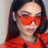 Wholesale Yellow Sea Glass - Luxury Oversized Sunglasses for Women Rimlesss Transparent Brand Lady Female Sea Color Red Pink Yellow Sun Glasses desol 2018