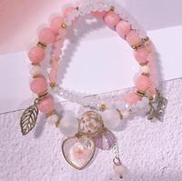 ingrosso stringa elastica del braccialetto-braccialetti del progettista dei monili di lusso i braccialetti di perline di cristallo rosa dolce per la stringa elastica della ragazza delle donne modo caldo di trasporto libero